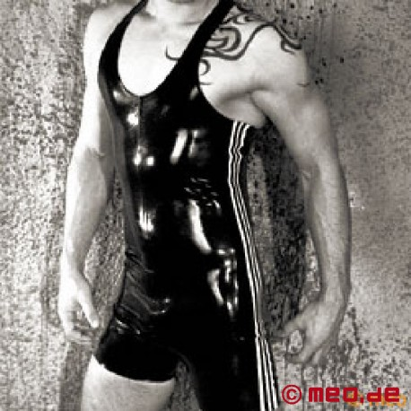 Latex Surf Suit with Side Stripes