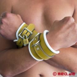 Abschließbare Handfesseln aus Leder - Hospital Style - Klinikfesseln