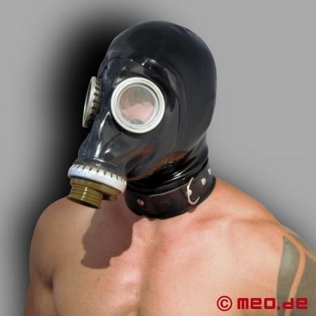Russische Gasmaske mit Latexhaube und Halsband