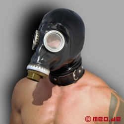 Russian gas mask with a latex hood and collar