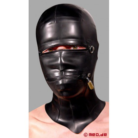 Posture Lock Hood, Masque en latex se fermant à clé