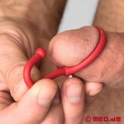 Plug pénien Cum Stopper, frein à sperme en silicone - rouge