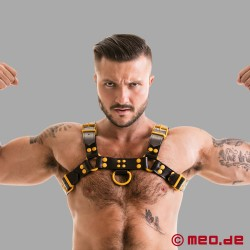 Fetish Gear Harness in schwarz/gelb