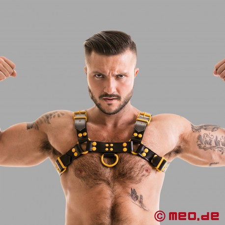 Fetish Gear Coloured H-Front Harness in Black/Yellow