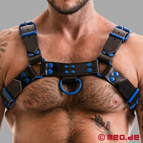 Fetish Gear Harness in schwarz/blau