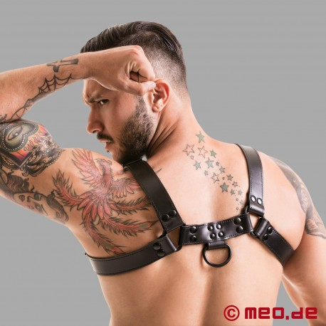 Fetish Gear Coloured H-Front Harness - Black