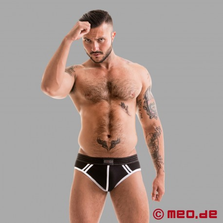 Fetish Gear Core Brief in schwarz /weiß