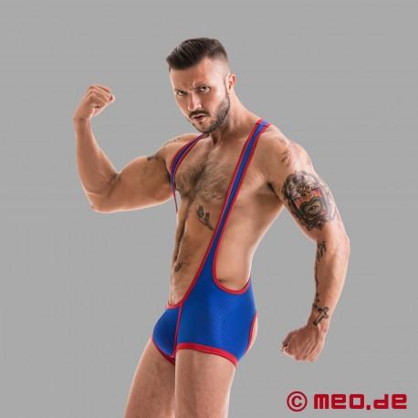 Fetish Gear Wrestler Trikot mit offenem Po in blau/rot