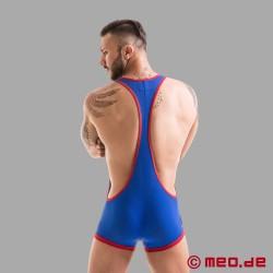 Fetish Gear - Tricot de lutteur en bleu/rouge