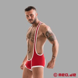 Fetish Gear Mesh Singlet - Red/White