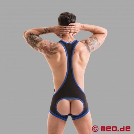 Fetish Gear Wrestler Trikot mit offenem Po in schwarz/blau