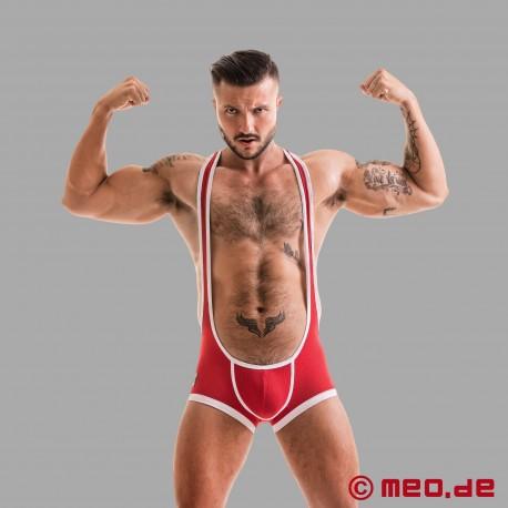 Fetish Gear Wrestler Trikot mit offenem Po in rot/weiß