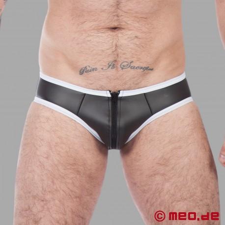 Fetisch Neopren - Neopren Slip in schwarz / weiß