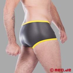 Fetisch Neopren - Enger Boxer aus Neopren in schwarz/gelb