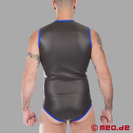 Fetisch Neopren - Neopren T-Shirt mit Reißverschluss - schwarz/blau
