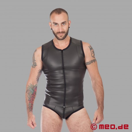 Fetish Neoprene - Neoprene Vest With Zip - Black