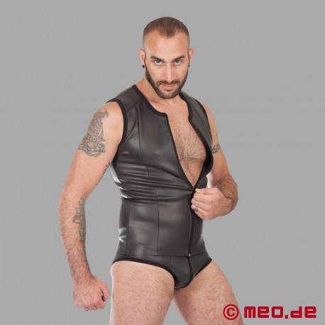 Fetisch Neopren - Neopren T-Shirt mit Reißverschluss - schwarz
