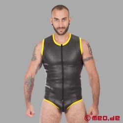 Neoprene Fetish – Maglietta con Cerniera in Neoprene – nero/giallo