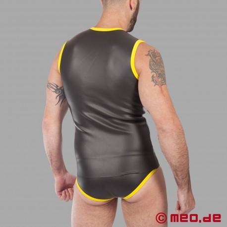 Fetisch Neopren - Neopren T-Shirt mit Reißverschluss - schwarz/gelb