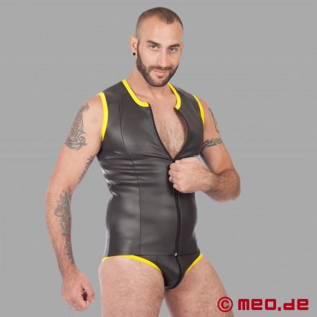 Fetish Neoprene - Neoprene Vest With Zip - Black/Yellow