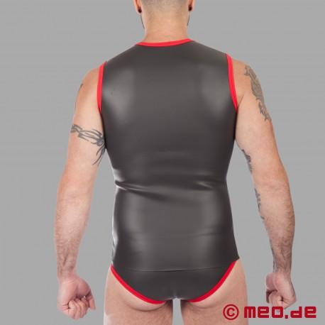 Fetisch Neopren - Neopren T-Shirt mit Reißverschluss - schwarz/rot