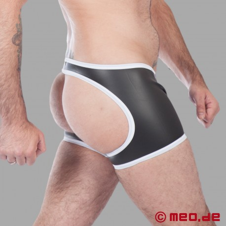 Fetisch Neopren – Neopren Boxer– hinten offen – schwarz/weiß