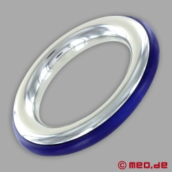 CAZZOMEO stainless steel cock ring with blue silicone insert
