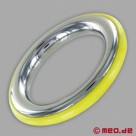 CAZZOMEO Edelstahl-Cockring mit gelber Silikon-Einlage