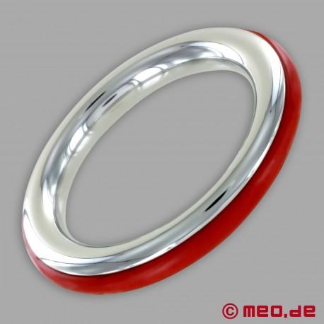 CAZZOMEO Edelstahl-Cockring mit roter Silikon-Einlage