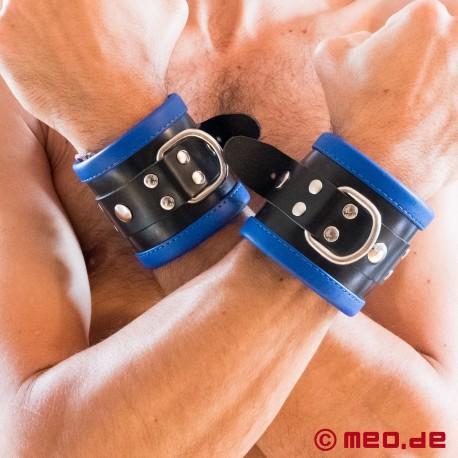 Black/Blue Leather Bondage Wrist Cuffs