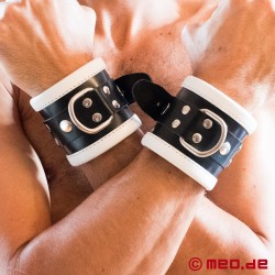 Black/White Leather Bondage Wrist Cuffs