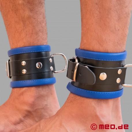 Polsini per caviglie bondage in pelle nero/blu