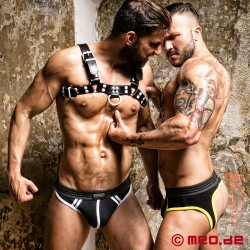 Fetish Gear Coloured H-Front Harness in Black/White