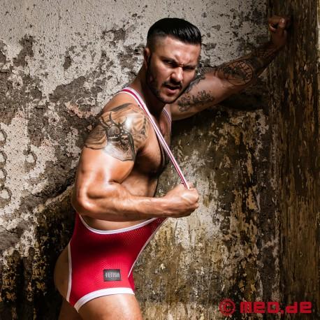 Fetish Gear Wrestler Singlet with open ass - Red/White