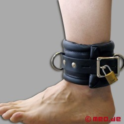 Lockable bondage ankle cuffs with time lock - heavily padded
