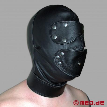 Masque de bondage en cuir avec cadenas à minuterie