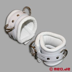White bondage ankle cuffs with time lock