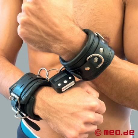 Lockable bondage wrist cuffs with time lock - heavily padded