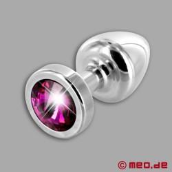 Anal Jewel Silver Star Amethyst - Luxury Butt Plug with Crystal