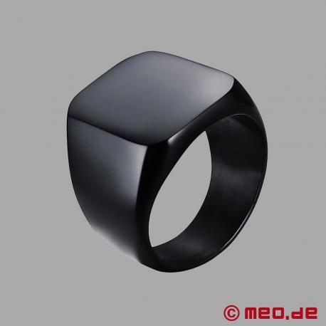Black Berlin signet ring made of black titanium