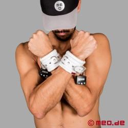Weiße Lederfesseln für die Hände mit Zeitschloss