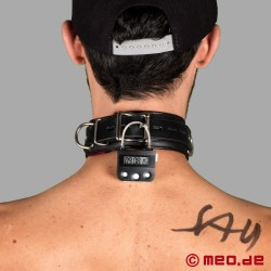 Collier en cuir BDSM verrouillable avec cadenas à minuterie