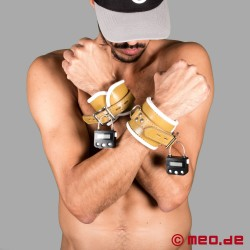 Lockable wrist cuffs with time lock – Psychiatry style