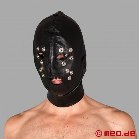 Maschera di cuoio bondage con lucchetto a tempo
