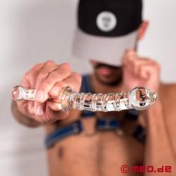 Dildo di vetro Leon – Dildo fatta in vetro con maniglia