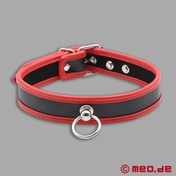 Sklavenhalsband – Schmales Halsband aus Leder schwarz/rot