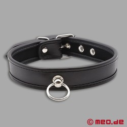 Slave collar - narrow collar made of leather black