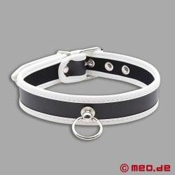 Sklavenhalsband – Schmales Puppy Halsband aus Leder schwarz/weiß