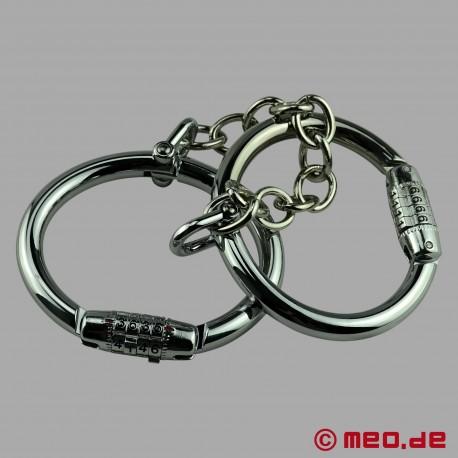 Entraves de poignets en acier avec cadenas à chiffres