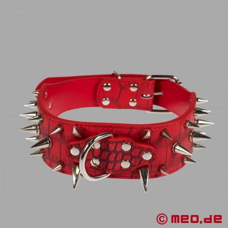 Collier à pointes rouge pour chien humain
